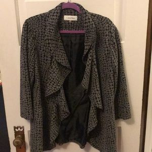 Black and Gray, 3/4 sleeve jacket with open front